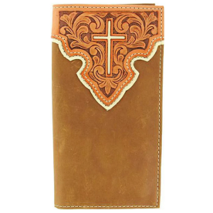 Tooled Leather Overlay w/ Cross Inlay Rodeo Wallet