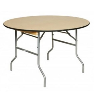 36 Inch Round Wood Folding Table, Vinyl Edging