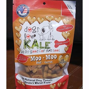 Dogs Love Kale Moo-Moo Organic Beef & Carrot Wheat & Grain Free Dog Biscuits 6oz