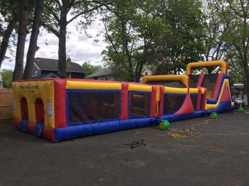 INFLATABLE DOUBLE LANE SLIDE & OBSTACLE COURSE