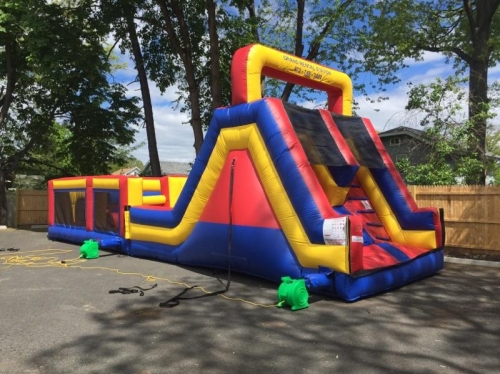 INFLATABLE DOUBLE LANE SLIDE & JR. OBSTACLE COURSE
