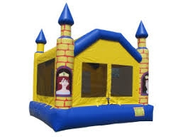 INFLATABLE CASTLE, YELLOW AND BLUE