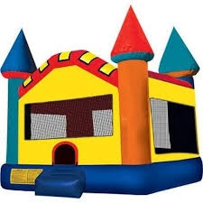 INFLATABLE CASTLE, RED YELLOW BLUE GREEN