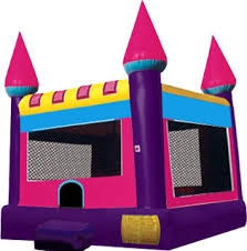 INFLATABLE CASTLE, PINK AND PURPLE