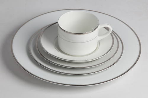 CHINA, WHITE WITH SILVER BAND