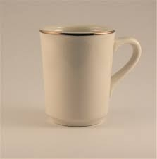 COFFEE MUG, IVORY WITH GOLD BAND
