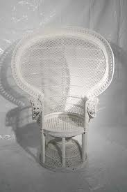 CHAIR, WHITE WICKER