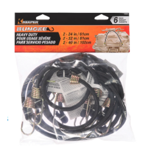6-Pk. Assorted Heavy Duty Bungee Cord