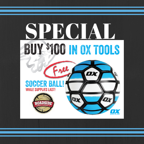Buy $100 in Ox Tools and get a FREE Soccer Ball