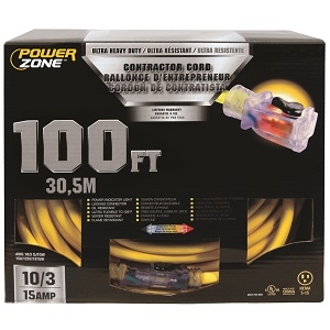 Powerzone ORP511935 Pro SJTOW Extension Cord, 10/3, 100 Ft