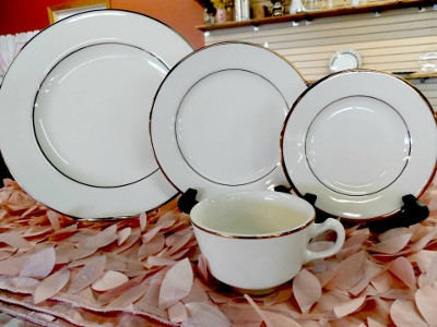 Ivory China with Gold Trim Dinnerware Collection