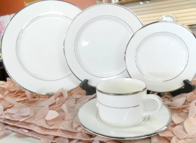 White China with Silver Trim Dinnerware Collection