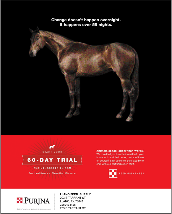 sixty day horse feed trial