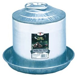 Double Wall Galvanized Poultry Waterer Fountain (2 Gallon)