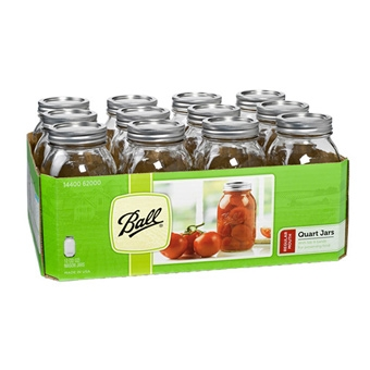 Ball® Regular Mouth Quart Size Mason Jars (12/Case)