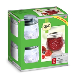 Ball® Collection Elite™ Regular Mouth (8 Ounce) Rounded Jam Jars (4/Case)