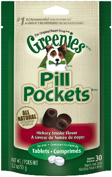 Greenies® Hickory Smoke Flavored Tablet Pill Pockets™ for Dogs (3.2oz-30 Count)