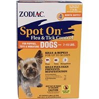 Zodiac® Spot On® Flea & Tick Control for Dogs 7-15#'s (4 Month Supply)