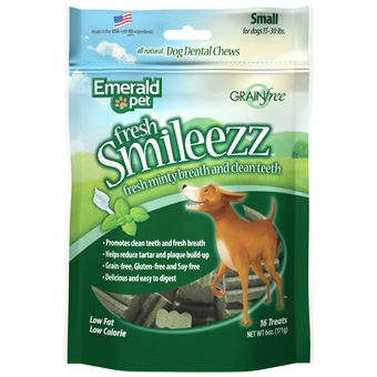 Emerald Pet® Smileezz™ Grain Free Dental Dog Chew 6oz Package (Small-16 Count)