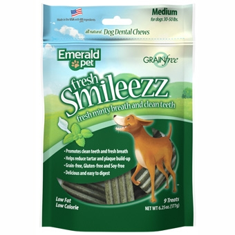 Emerald Pet® Smileezz™ Grain Free Dental Dog Chew 6oz (Medium-9 Treats)