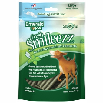 Emerald Pet® Smileezz™ Grain Free Dental Dog Chew 6oz Package (Large-6 Treats)
