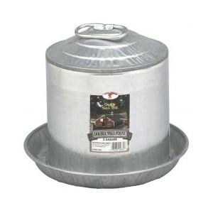 2 Gallon Double Wall Metal Poultry Fount