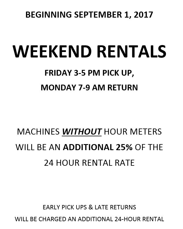 weekend rate update