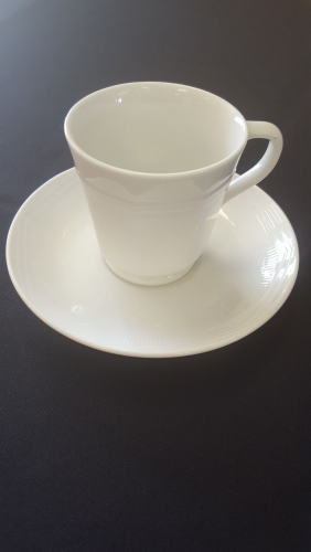 White Round Cup & Saucer