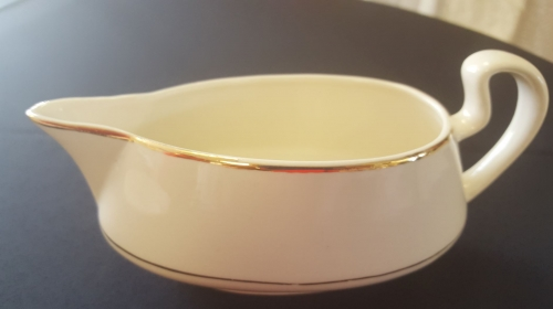 Ivory with Gold Rimmed Gravy Boat & Platter