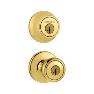 Polished Brass Keyed Entry Lockset With Deadbolt