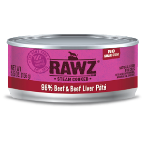 RAWZ Steam Cooked 96% Beef & Beef Liver Pate Cat Food