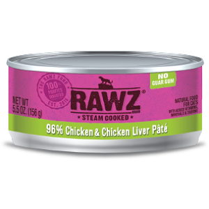 RAWZ Steam Cooked 96% Chicken & Chicken Liver Pate Cat Food