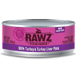 RAWZ Steam Cooked 96% Turkey & Turkey Liver Pate Cat Food