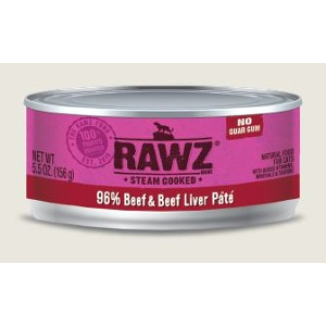 RAWZ 96% Beef & Beef Liver Pate 5.5 Oz. for Cats