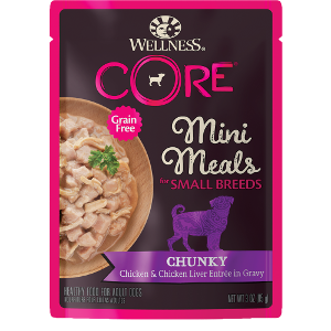 Wellness Core Small Breed Chicken & Chicken Liver Chunky 3oz Pouch