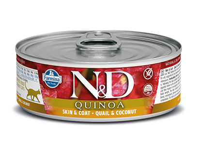 Farmina N&D Quinoa Cat Skin & Coat Quail Recipe 2.8 oz. Can