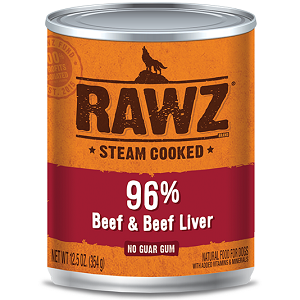 RAWZ Steam Cooked 96% Beef & Beef Liver Canned Dog Food
