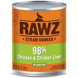RAWZ Steam Cooked 96% Chicken & Chicken Liver Canned Dog Food