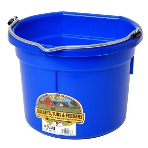 Little Giant® Flat Back Plastic 8-Quart Blue Bucket