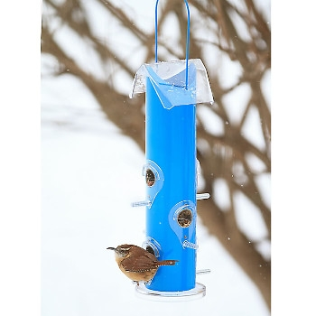 Perky Pet Blue Metal Tube Bird Feeder