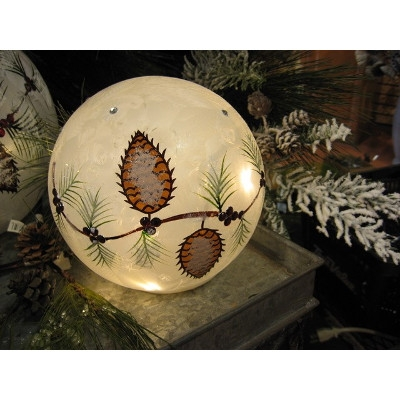 Snowball Orb with Berries and Pine Cones by Melrose International
