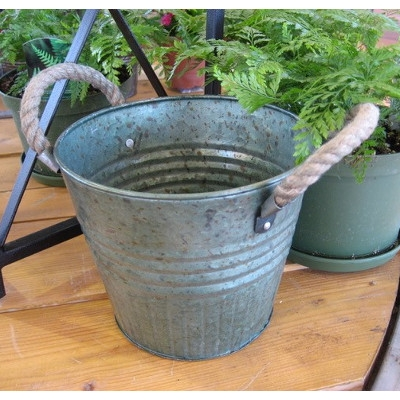 Tin Planter with Rope Handles
