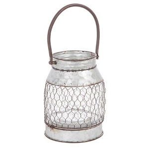 Tin Lantern with Chickenwire