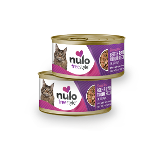 Nulo Freestyle Cat & Kitten Shredded Beef & Rainbow Trout in Gravy