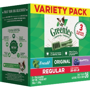 GREENIES™ 3-Flavor Variety Pack Regular Size Dog Dental Treats 36 Pack