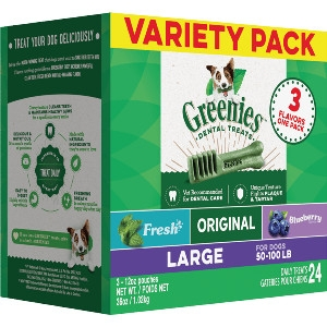 GREENIES™ 3-Flavor Variety Pack Large Size Dog Dental Treats 24 Pack