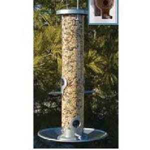 Silver Tube Bird Feeder with Tray & Dual Ports