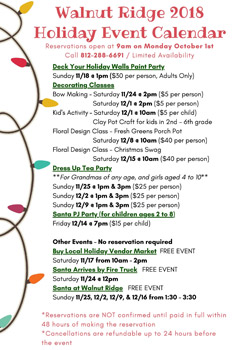 Holiday Events Calendar