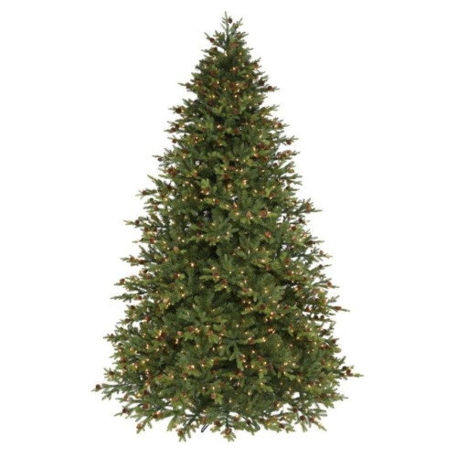 Bavarian Slim Pine with Pinecones Artificial Christmas Tree