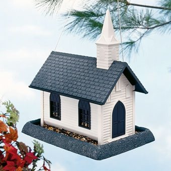 Large White Church Birdfeeder